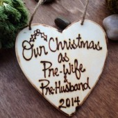 Christmas Ornament for the Newly Engaged Pre-Wife and Pre-Husband Rustic Wedding Ornament 2015