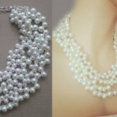 Chunky White Necklace, Bridesmaids Chunky Necklace, Wedding Jewelry Necklace, Custom Pearl Necklace