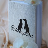 Wedding Guest Book, Rustic Wedding, Custom Guest Book, Guestbook black penguin