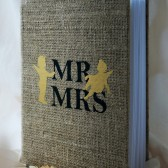 Wedding Guest Book, Rustic Wedding, Custom Guest Book, Guestbook Mr and Mrs gold Angels