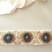 Bridal sash Handbeaded Peacock Blue Green Ivory gold wedding