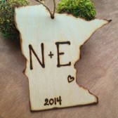 State Ornament with Your Carved Initials and Wedding Date or Year Hometown Love