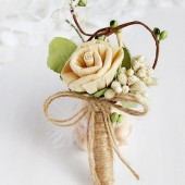 Men's Rustic Boutonniere, Natural Groom Buttonhole