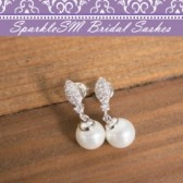 Pearl Bridal Earrings, Swarovski Crystal Bridal Wedding Earrings, SparkleSM Bridal, Carrie