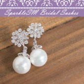 Pearl Bridal Earrings, Rhinestone Bridal Earrings, Crystal Wedding Earring, SparkleSM Bridal, Juliet