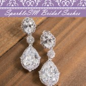 Swarovski Crystal CZ Bridal Earrings, Rhinestone Earrings, Statement Bridal Earrings, SparkleSM Bridal, Meri
