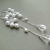 Crystal Bridal Earrings, Long Pearl Wedding Earrings, Swarovski Bridal Earrings, Statement Cluster Earrings, Wedding Jewellery