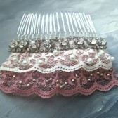 Bridal Lace Hair Comb. Lace Bridal Headpiece, Rhinestone Pearl Hair Comb, Bridal Accessories, Wedding Jewlery, Pink Ivory Lace