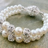 Bridal Pearl Bracelet Wedding Pearl Rhinestone Bracelet, Statement Ivory Pearl Bracelet, Bridal Jewellery Wedding Crystal Bracelet Art Deco