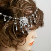 Bridal Rhinestone Headpiece, Gatsby Headpiece, Pearl Rhinestone Headpiece, Bridal Rhinestone Headband, Rhinestone Bridal Hairpiece