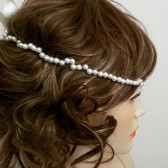 Ivory Pearl Headband, Single Pearl Headpiece, Wedding Hairband, Pearl Hair Piece, Bridal Pearl Headband, Forehead Hair Accessories