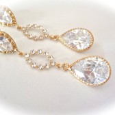 Long gold cubic Zirconia earrings
