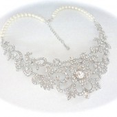 Pearl and Rhinestone bib necklace