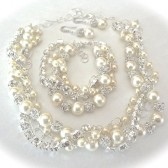 Twisted pearl and rhinestone jewelry set