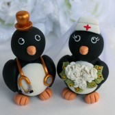 Penguin cake topper, wedding cake topper, love bird cake topper, love birds, custom cake topper, hand made cake topper