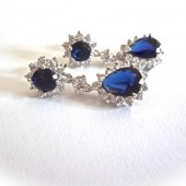 Blue Sapphire cubic zirconia earrings