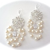 Swarovski Pearl and crystal chandelier earrings