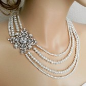 Bridal Necklace Pearl Rhinestone Wedding Necklace,Pearl Bridal Jewelry, Gatsby Style Bride Statement Necklace