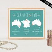 Personalized wedding gift, wedding map, gift for wife, gift for couples