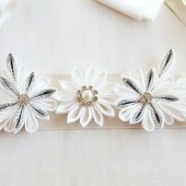 Ivory Kanzashi Flower Sash, Wedding Flower Sash, Floral Bridal Sash Belt