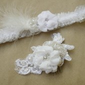 Wedding set, headpiece and garter set
