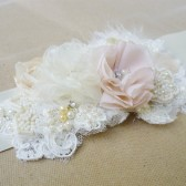 blush, beige and ivory boho bride belt