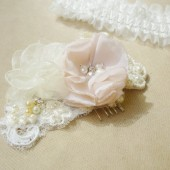 Flower Hair Accessories - Ivory and pink lace applique fascinator