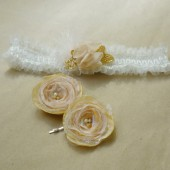 Beautiful Bridal Accessories Set, Ivory, pink and gold