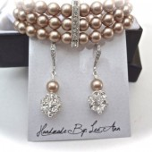 Pearl cuff bracelet and earring set