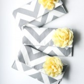Gray and Yellow Bridesmaid Clutches