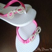 Girls Hot Pink Flip Flops. Bow flower girls flip flops. CZ pearls bow- Daphne's bow Collection 01 -Hot Pink