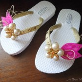 Flower Girls Hot Pink Flip Flops.Gold flip flops with Peacock Feathers-SWAROVSKI Crystals-Must Have Collection Hot Pink & Gold- flowwer girls