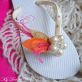 Pink - Orange Flip Flops. Ivory, Pink,Orange Peacock Feathers Flip Flops w/ SWAROVSKI Crystals.-Must Have Collection. Hot Pink-