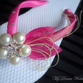 Hot Pink Flip Flops. Hot Pink Peacock Feathers Bridal Flip Flops with SWAROVSKI Crystals.-Must Have Collection Hot Pink
