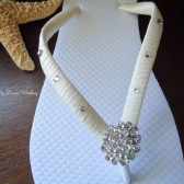 Ivory Flip Flops. Bridal Ivory flip flops Swarovski Crystals bride flip flops. -Other colors available-BELLA