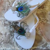White Peacock Flip flops with Swarovki Crystals. Bridesmaid Bridal Party, made in your wedding colors -TROPICAL Wedding Collection