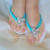 Tiffany Starfish Flip Flops. Original Australian Starfish Crystal -SWAROVSKI Elements. Turquoise Bridal flip flops-StarFish Collection