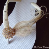 Ivory Bridal Flip Flops. Ivory Peacock Feathers with Swarovski Crystals and CZ round center button.Wedding -Ivory -Must Have Collection