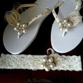 Something blue-Ivory Garter & flip flops set. Ivory Peacock Feathers w/ SWAROVSKI Crystals N StarFish Rhinestone -Must Have Collection