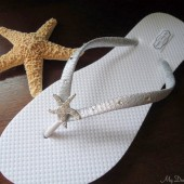 Starfish Flip Flops. Silver beach flip flops- Wedding, Bridal, bridesmaids. Swarovski crystals. -StarFish Collection-Silver 401