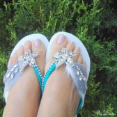 Havaianas turquoise Flip Flops. Original Australian Starfish, Swarovski and Cz crystals..-Havaianas Collection 404-turquoise