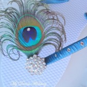 Teal Turquoise Peacock Flip flops. Swarovski Crystals ,made in your wedding colors -TROPICAL Wedding Collection-