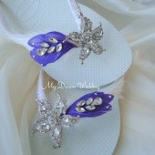 Purple Havaianas Flip Flops. Original Australian Starfish, SWAROVSKI and Cz crystals..-Bridal Havaianas. Collection 405- purple