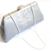Platinum Grey Monogram Bridal Clutch