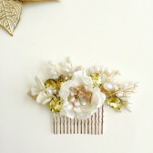 Bridal hair comb Ivory flowers Gold and Pearls headpiece Handmade weddings