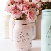 Blush painted mason jar