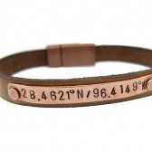 Personalized Copper Leather Bracelet with Latitude & Longitude Map Coordinates