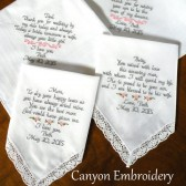 Embroidered Wedding Handkerchiefs Gifts For MOM & DAD Parents of the Bride Groom Set of Two Handkerchiefs Wedding Gifts by Canyon Embroidery