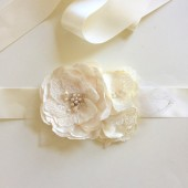 Elegant Ivory Satin Flowers and Lace Handmade Bridal Sash Belt Wedding Style 3