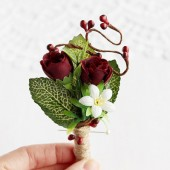 Marsala Boutonniere, Rustic Buttonhole, Groom Boutonniere